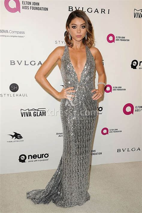 sarah hyland silver sequin plunging celebrity prom dress