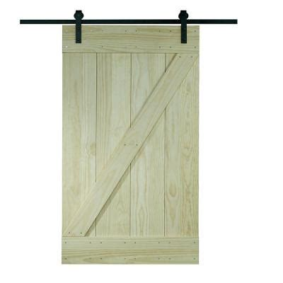 Sliding Barn Door Home Depot Pinecroft 38 In X 81 In Wood Barn Door With Sliding Door Hardware Kit 8bdsw3680kdz The Home
