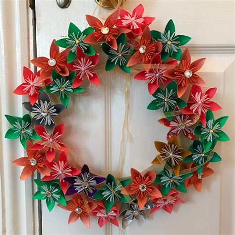 Large Origami Flowers - large origami flower wreath