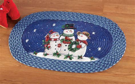 snowman rug happy winter snowman family braided rug bathroom kitchen den decor new ebay