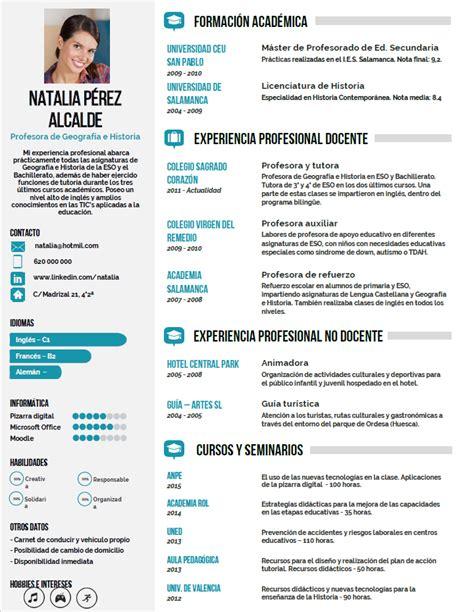 Modelo Curriculum Vitae Profesor Chile Elaboraci 243 N Curriculum De Profesores Plantillas De Cv Para Enviar A Colegios Privados