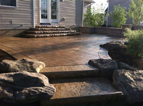 concrete patio steps klein s lawn landscaping hardscapes steps