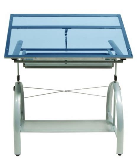 Studio Designs Avanta Drafting Table Smart Gifts For Creative Geniuses Studio Designs Avanta Drafting Table In Silver With Blue Glass