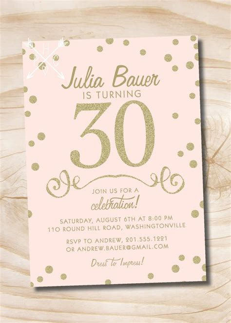 glitter birthday invitation 40th 50th pink and gold glitter confetti 30th 40th 50th birthday invitation printable digital file or