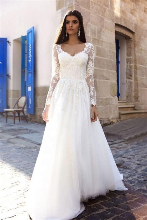 floral applique sheer long sleeve wedding dress wedding