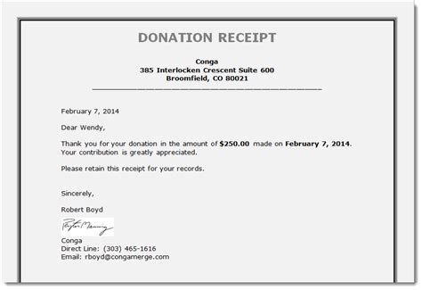 template donation receipt letter tax receipts board reports and more generating documents