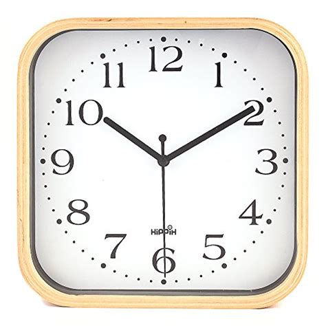 hippih silent wall clock timber 8 inches non ticking digital white hippih silent wall clock wood 9 inch non ticking digital