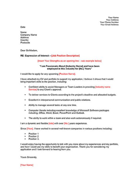 how to write expression of interest letter sle cover