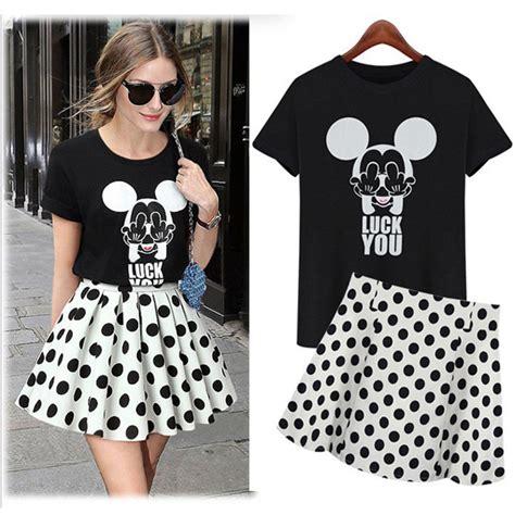 Mickey Casual Dress 1 kawaii dot mickey mini a line dress casual sets mikey ears clothing