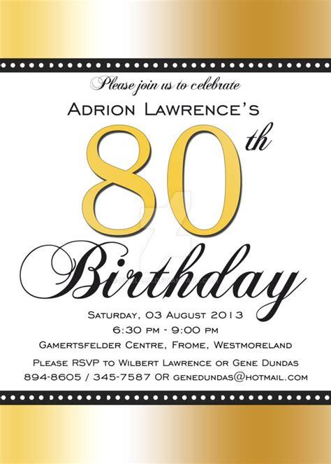 80th birthday invitation front by pixel2ja on deviantart