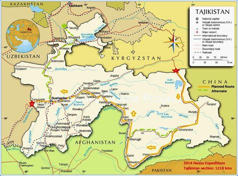 map of tajikistan nexus expedition summer 2014 route kyrgyzstan