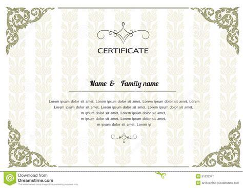 certificate design elegant thai elegant art frame certificate design template stock
