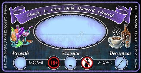 Vape Tonic Flavored E Cigarettes E Liquid Juice Bottle Vial Label Template Stock Illustration E Liquid Label Template Free