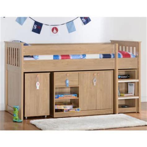 Oak Mid Sleeper by Seconique Merlin Oak Effect Sturdy Mid Sleeper Bed
