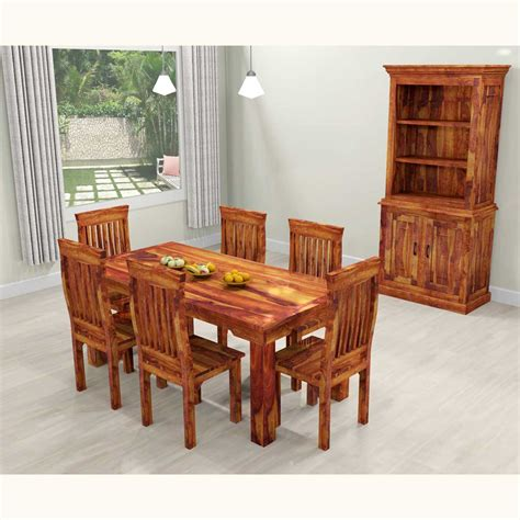 Dallas Ranch Solid Wood Rustic Dining Table Chairs Hutch Set Dining Table Hutch