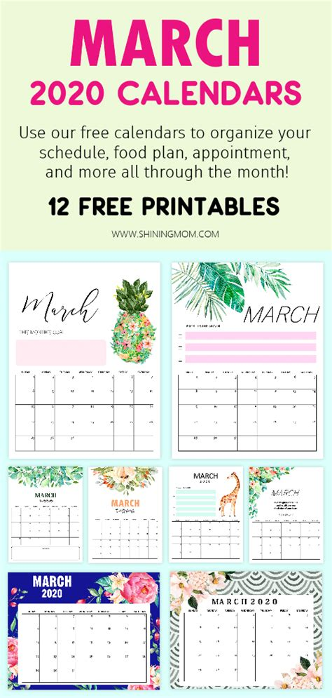 printable march  calendar  awesome designs