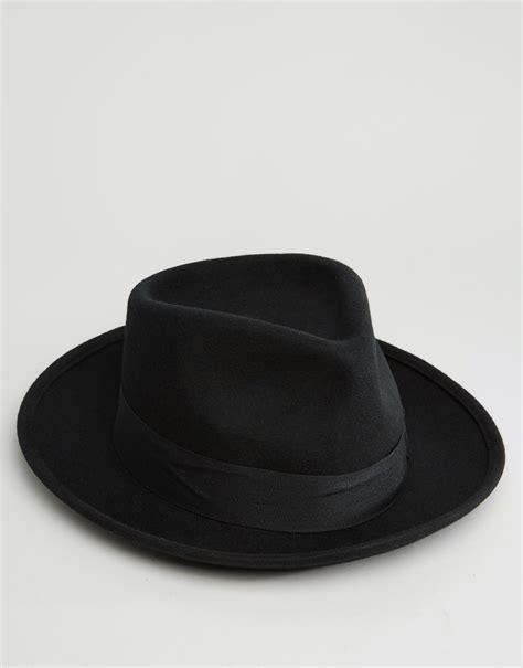 black hat brixton fedora hat swindle with wide brim in black for men