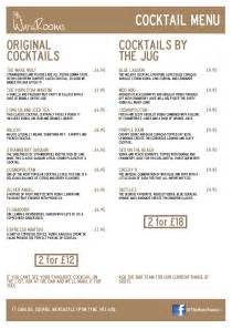 Living Room Newcastle Drinks Menu The Ware Rooms Newcastle Best Bar In Town