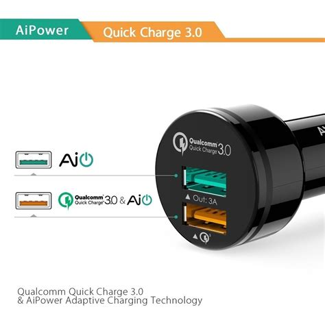 Aukey Qualcomm Fast Charging 3 0 Dual Port Garansi Resmi Cct8 Cc T8 aukey cc t7 dual usb car charger qualcomm charge 3 0