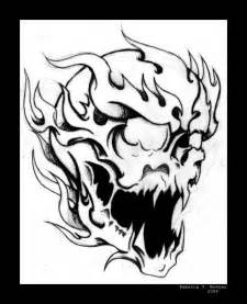 Flaming Skull Drawings Images &amp Pictures  Becuo sketch template