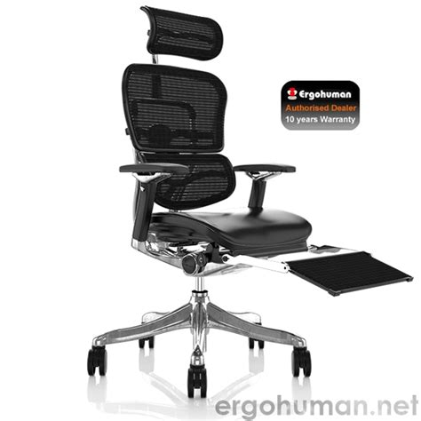 desk chair with leg rest ergohuman plus office chair leather seat and mesh back