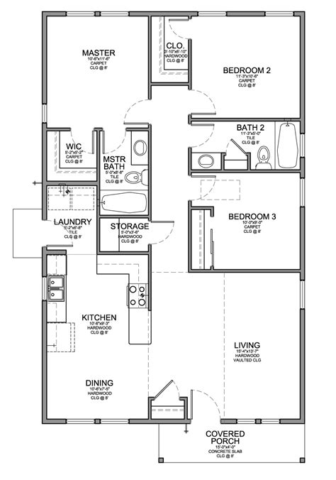 3 bedroom 2 bath floor plan for a small house 1 150 sf with 3 bedrooms and