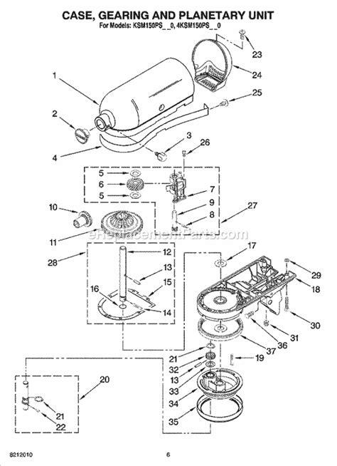 kitchenaid stand mixer parts diagram kitchenaid mixer parts diagram