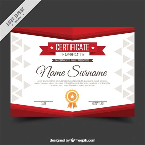 certificate design red appreciation diploma with red shapes vector free download