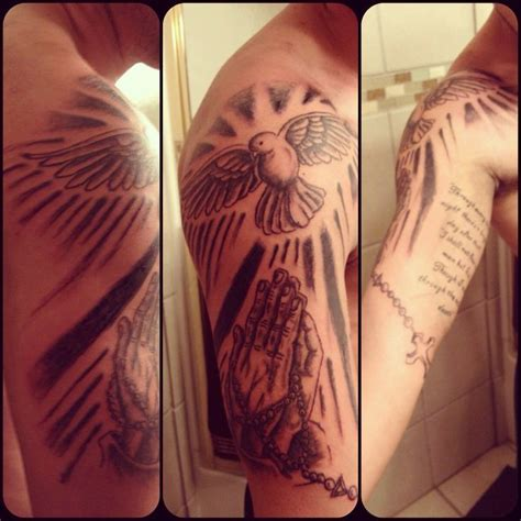 half sleeve tattoo with cross half sleeve religious tattoos half