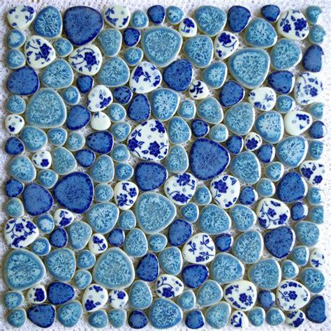 blue and white porcelain tile mosaic tiles ceramic new design tst porcelain pebbles fambe blue white heart