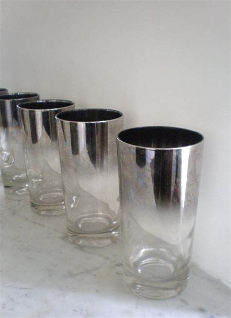 ombre silver fade rim glasses high ball barware by