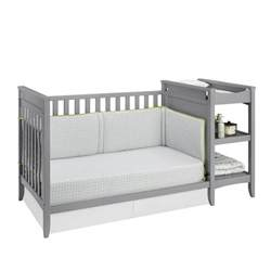 Changing Table Combo 2 In 1 Convertible Crib And Changing Table Combo Set In Gray Da6790