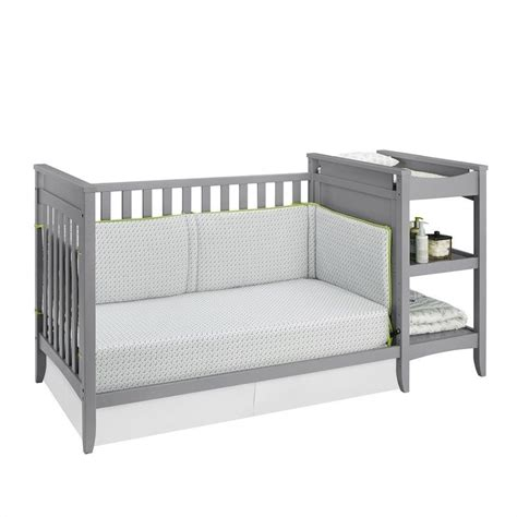 Baby Crib Changing Table Combo 2 In 1 Convertible Crib And Changing Table Combo Set In Gray Da6790