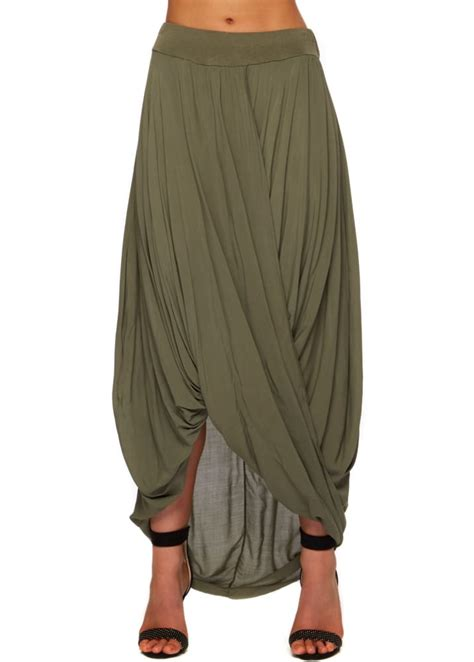 shyloh maxi skirt khaki green draped twist front maxi