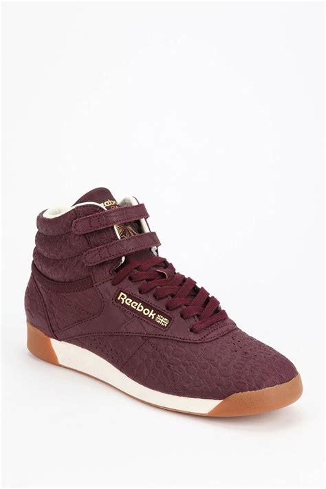 purple high top sneakers lyst reebok exotics high top sneaker in purple
