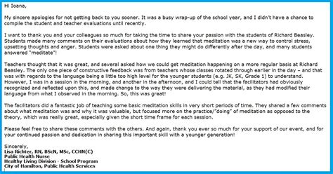Thank You Letter After Fair Appreciation Letter To Sahaja Meditation From Richard Beasley S Care Fair 8 Inner Peace