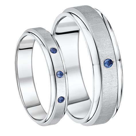 Wedding Bands His Hers by His Hers Titanium Sapphire Set Wedding Bands 5 7mm