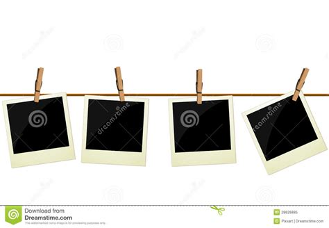 hanging pictures four polaroid pictures hanging on rope royalty free stock