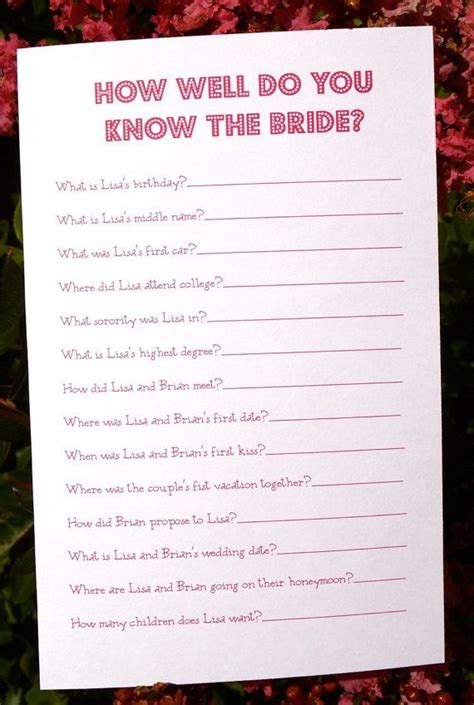 kitchen tea games ideas diy printable bridal shower game how well do you know