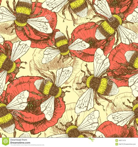 vintage pattern sketch sketch bee and poppy in vintage style stock vector image