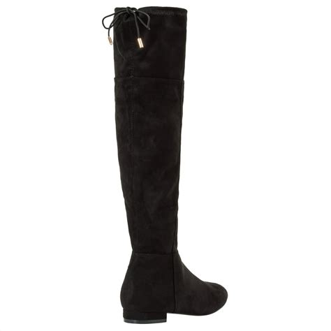 black faux suede the knee boots high block