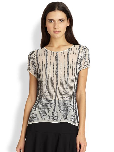 beaded tops lyst nomad beaded silk top in gray