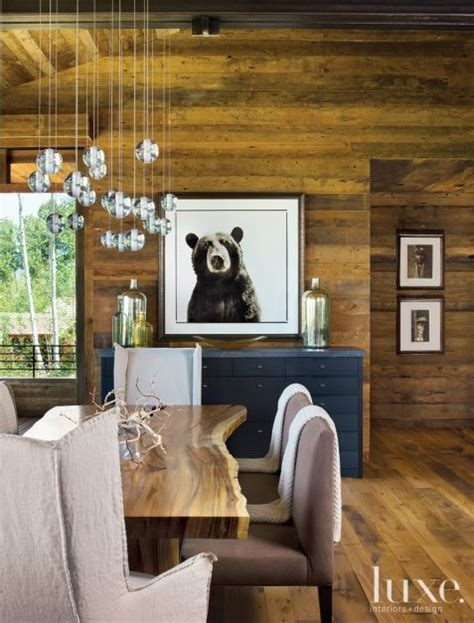 neutral mountain dining room  bear picture luxe