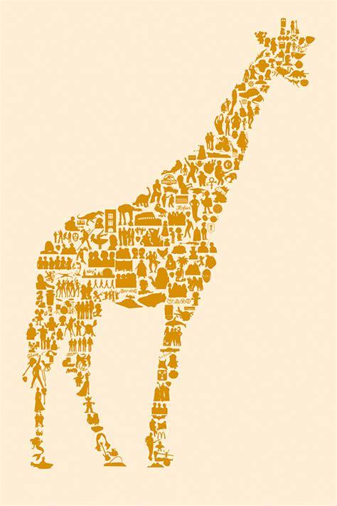 printable giraffe poster giraffe icon poster on behance