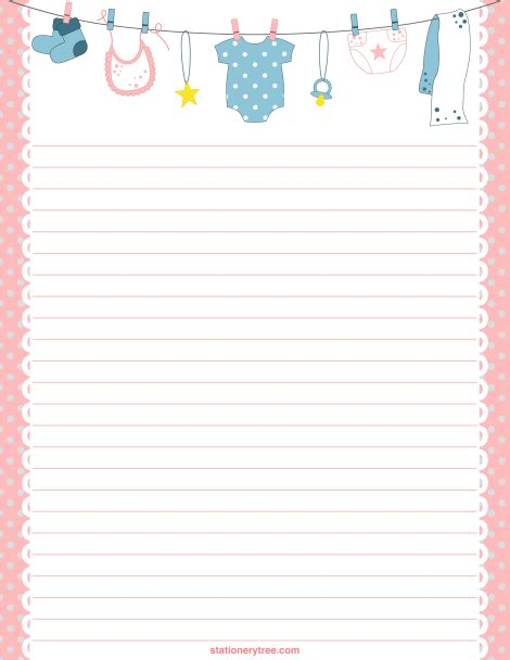 printable stationary download printable baby stationery and writing paper free pdf