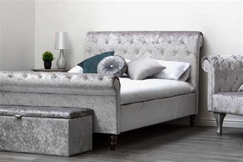 Velvet Sleigh Bed St Diamante Silver Crushed Velvet Chesterfield Sleigh Bed Price Beds