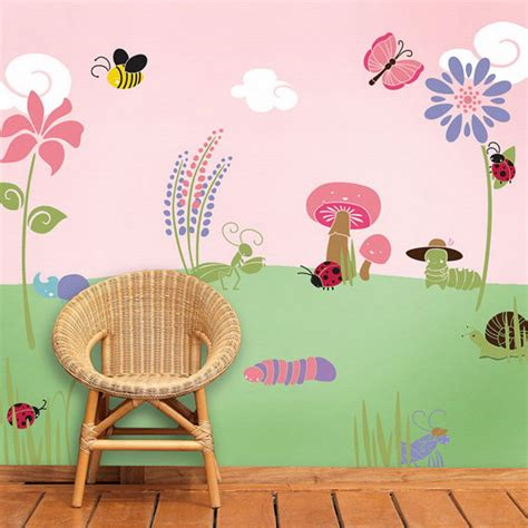 floral borders for living room wall stencils paint ideas murals for girls rooms bug and flower wall mural stencil
