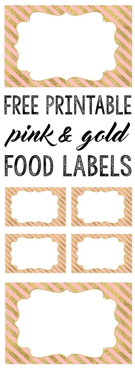 Free Food Card Templates For Wedding by Pink And Gold Food Labels Free Printable Paper Trail Design
