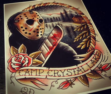tattoo paper on canvas jason voorhees tattoo art print