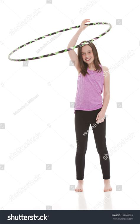 portrait preteen swimsuit holding hula hoop stock photo preteen hula hooping isolated on white stock photo